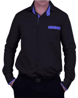 Nkosana Lounge Shirt – Black/Blue
