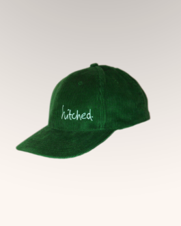 hitched bottle green corduroy cap