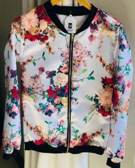 White Satin Flower Bomber Jacket